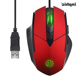 Large Red Wired Gaming Mouse USB Desktop Game Mice for Mac,D