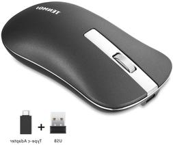 TENMOS T5 Slim Wireless Mouse, 2.4G Silent Travel Mouse with