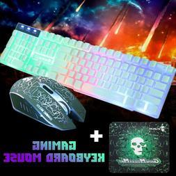 T6 Rainbow Backlight Usb Ergonomic Gaming Keyboard And Mouse