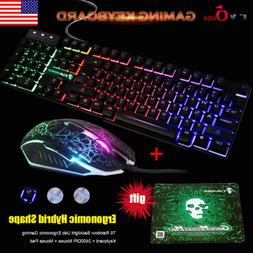 T6 Rainbow Backlight Usb Ergonomic Gaming Keyboard and Mouse