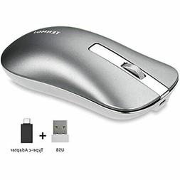 TENMOS T5 Slim Wireless Mouse, 2.4G Silent Travel With USB R