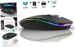 TENMOS Wireless Bluetooth Mouse, LED Slim Dual Mode  2.4GHz
