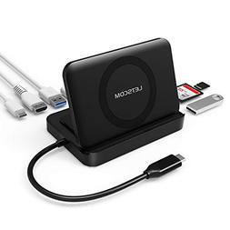 USB C Hub, LETSCOM 8 in 1 USB C Adapter with Wireless Charge