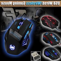 USB Wireless/Wired Gaming Mouse LED Optical 8000DPI Ergonomi