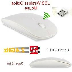 White Optical Wireless Cordless Compact Mouse 120 DPI 2.4 GH