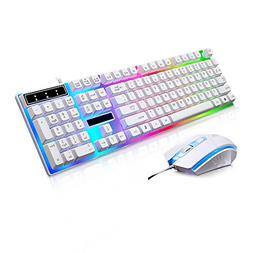 JUDYelc Wired Gaming Keyboard+ Mouse Combo Sets USB Port Key