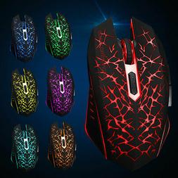 Wireless 7 Color Backlit LED Mouse 2400DPI Rechargeable Sile