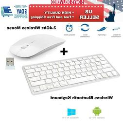 Wireless Bluetooth Keyboard & 2.4Ghz Optical Mouse Combo For