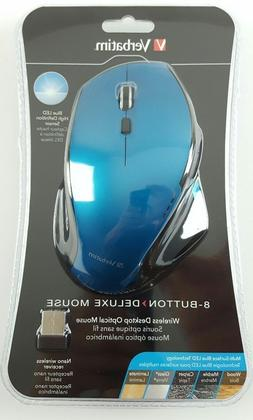 Verbatim Wireless Desktop 8-Button Deluxe Blue LED Mouse - B