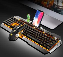 Wireless Keyboard and Mouse Rainbow LED Backlit Rechargeable