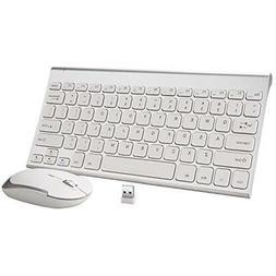 Wireless Keyboard Mouse, 2.4G Ultra Slim Rechargeable Alumin