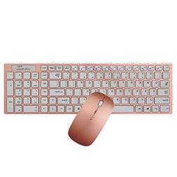 Wireless keyboard and mouse Set, Hi-azul Compact Low-noise 2