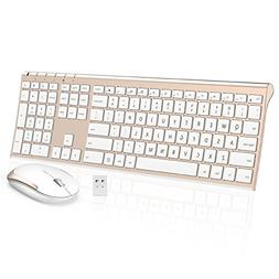 Wireless Keyboard Mouse, Jelly Comb 2.4GHz Ultra Slim Full S