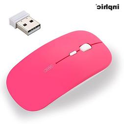 Rechargeable Wireless Mouse Mini Cordless Mice Pink With USB