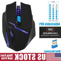 Wireless Mouse Optical Gaming Pro Mice DPI Adjustable for PC