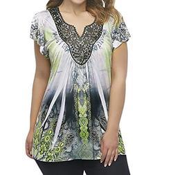 FEITONG Women Blouse, Women Ladies Summer Short Sleeve Print